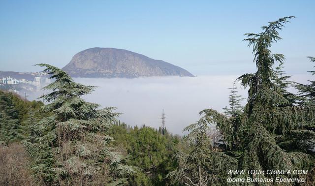 Туман над морем, под горой Аю-Даг.  Март 2020 г.
