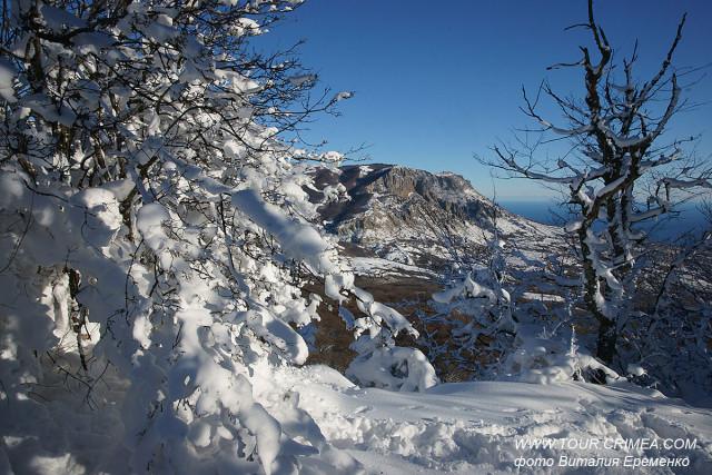 В Крыму 23 января 2020г. в горах выпал снег!